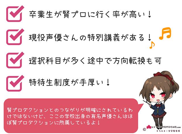 専門学校東京声優アカデミーの特徴
